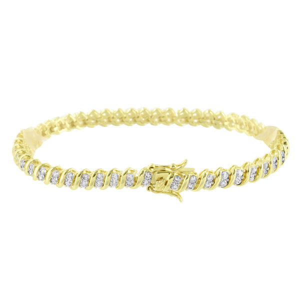 Yellow Gold Bracelet Lab Diamond 14K Finish