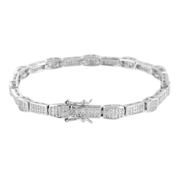 Ladies  Bracelet Lab Diamonds 14K White Gold Finish Micro Pave