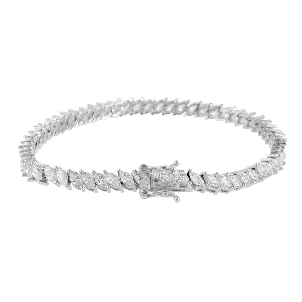 Marquise Cut Link Bracelet 14K White Gold Finish Lab Diamond