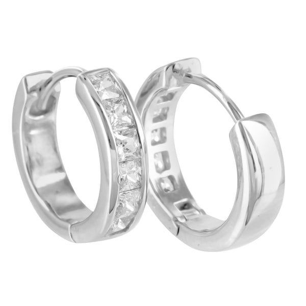 White Gold Finish 925 Silver Princess Lab Diamond Hoops Earrings