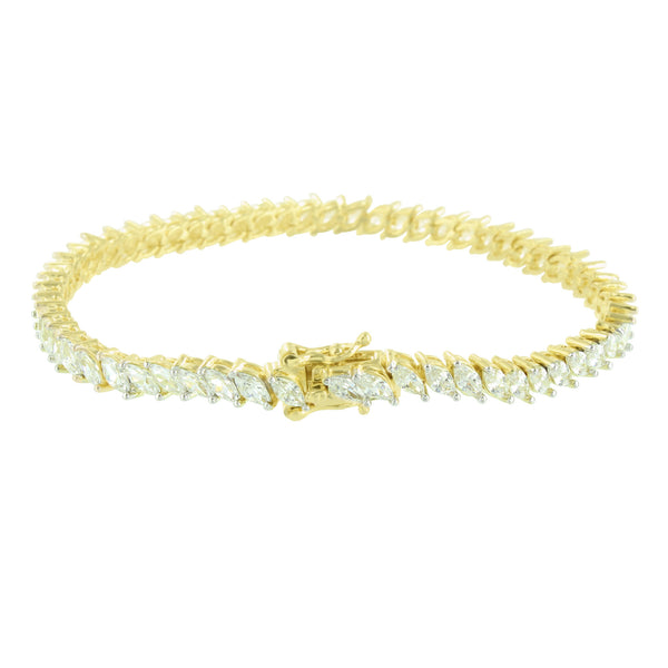 Marquise Cut Link Bracelet 14K Yellow Gold Finish Solitaire