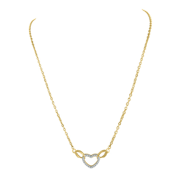 Heart Pendant Necklace Gold Finish Womens Charm