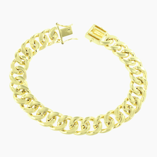 Miami Cuban Mens Bracelet 14K Yellow Gold Finish Lab Diamonds