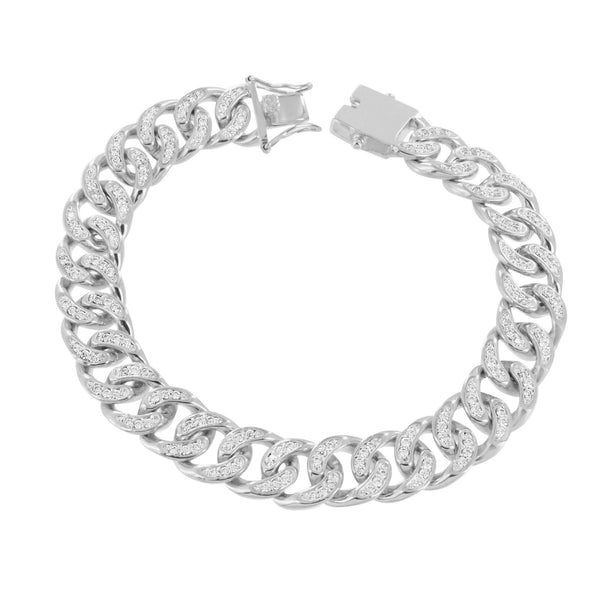 Mens Miami Cuban Bracelet Simulated Diamonds Micro Pave