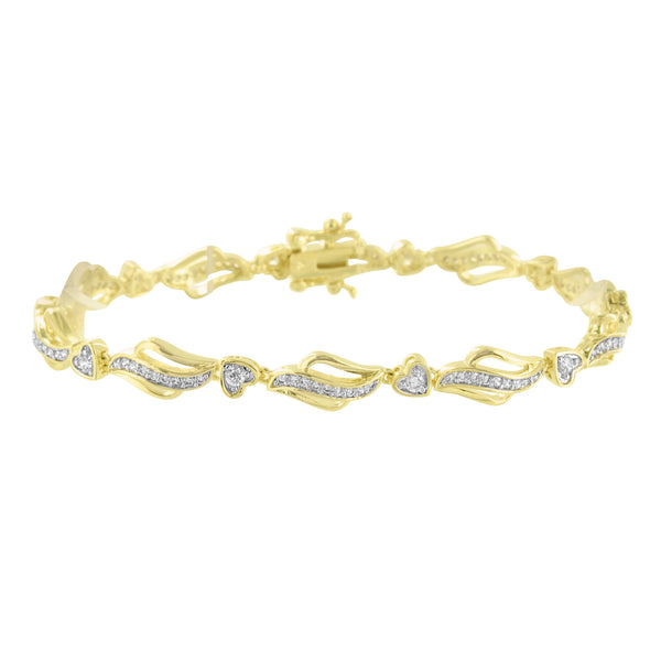 Womens Yellow Gold Bracelet Lab Diamond Stylish 14K Finish