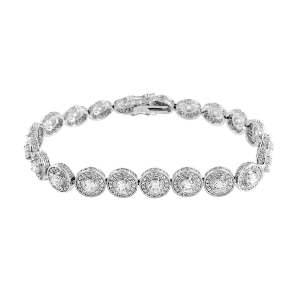 Round Cut Solitaire Bracelet Simulated Diamonds White Rhodium Finish