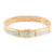 Simulated Diamonds Bracelet Rectangle Link 14k Rose Gold Finish