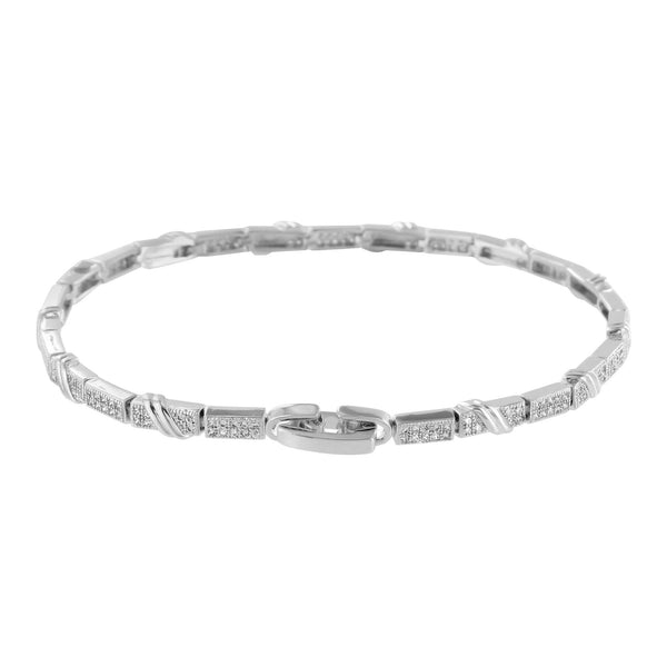 Designer Womens Lab Diamond Bracelet 14k White Gold Finish 2 Carat Look Elegant