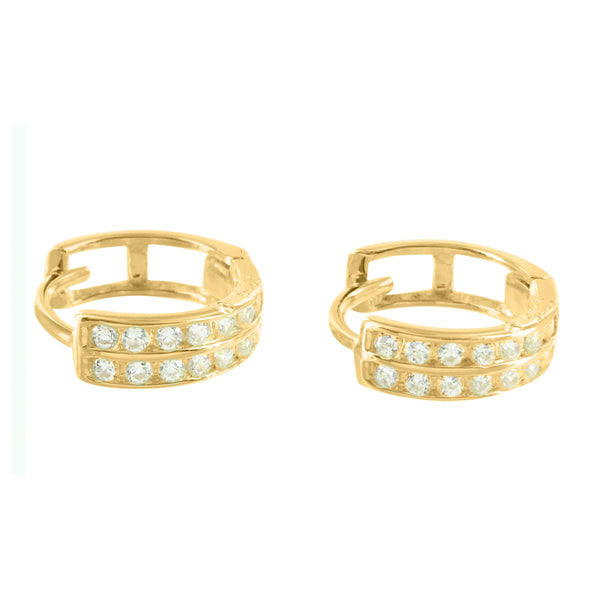 2 Row Lab Diamond Gold Finish 925 Silver  Hoop Earrings
