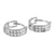 2 Row Lab Diamond White Gold Finish 925 Silver Hoop Earrings