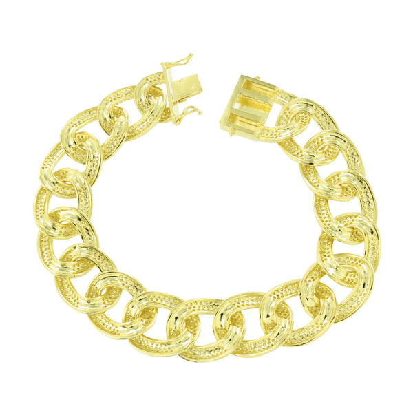 Miami Cuban Link Bracelet 16 MM Canary Simulated Diamonds