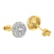 Round Cut Sterling Silver Cubic Zircon Yellow Gold Finish Earrings
