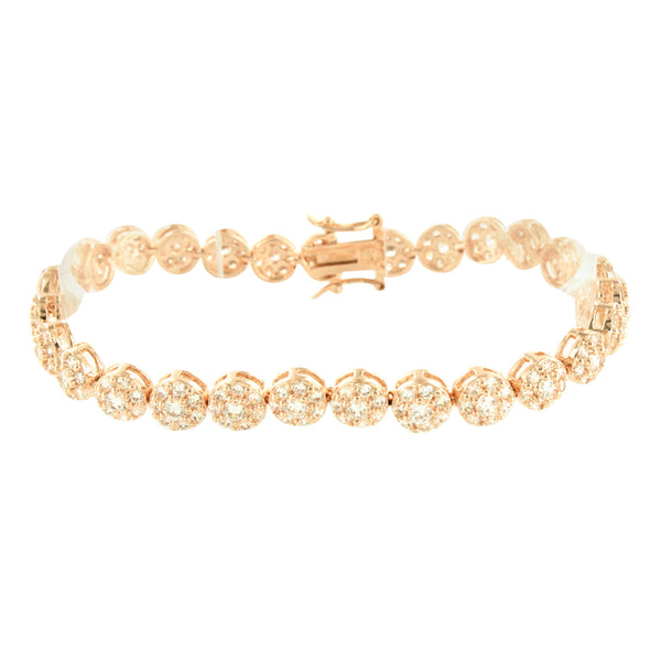 Round Bracelet 14K Rose Gold Finish Cluster Lab Diamonds Prong Set