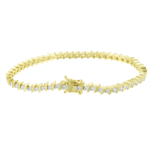 14K Gold Tone Bracelet Womens Lab Diamond Link Custom Elegant