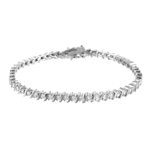 Link Bracelet White Gold Finish Lab Diamonds Round Cut