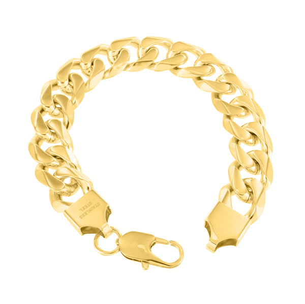 Miami Cuban Chain Steel Bracelet Combo Gold Finish 16 MM Thick