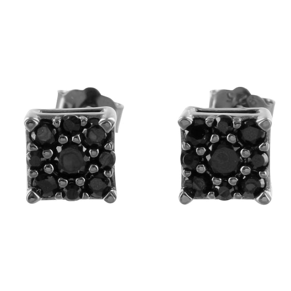 Square Black Lab Diamond Square Sterling Silver Earrings
