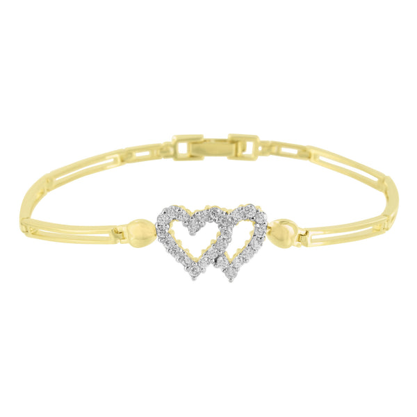 Yellow Gold Heart Bracelet Womens 14K Finish