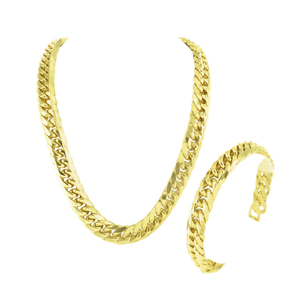 Miami Cuban Chain Bracelet Set 14k Gold Finish Elegant