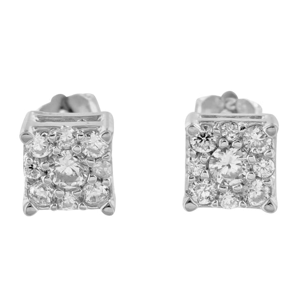 Square Lab Diamond White Gold Finish Sterling Silver Earrings
