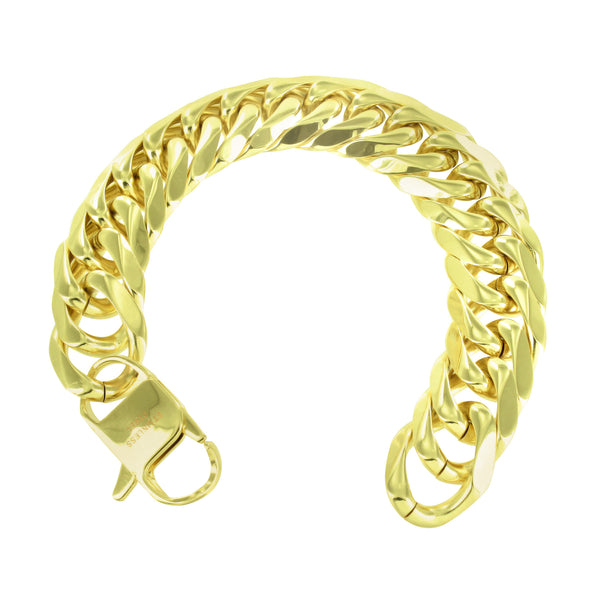 Miami Cuban Neckalce Bracelet Combo 14k Gold Finish 18 MM Thick 400+ Gr