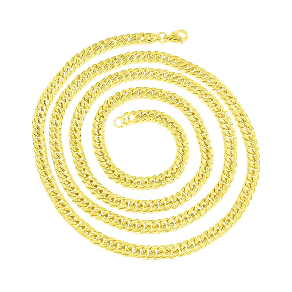 Stainless Steel Miami Cuban Necklace Gold Finish 4 MM 30 Inch