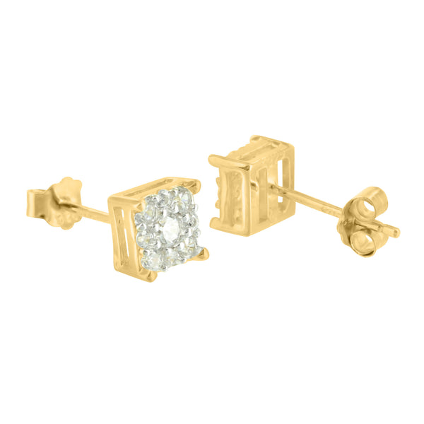 Gold Tone Flower Cluster Square Silver Lab Diamond Earrings