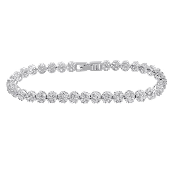 Womens Tennis Design Bracelet Round Link Cluster Set Lab Diamond White Gold Tone
