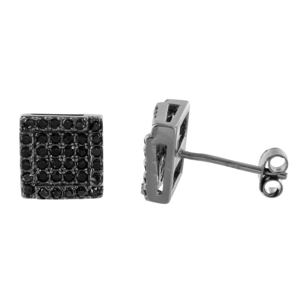 Square Black Gold Finish Black Lab Diamond Sterling Silver Earrings