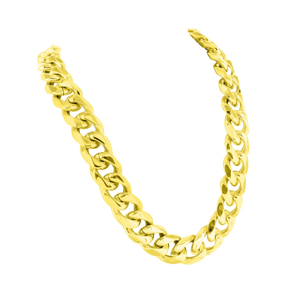 Miami Cuban 14k Gold Finish Bracelet Chain Stainless Steel 14 MM