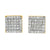 Gold Finish Square Lab Diamond 925 Silver Earrings