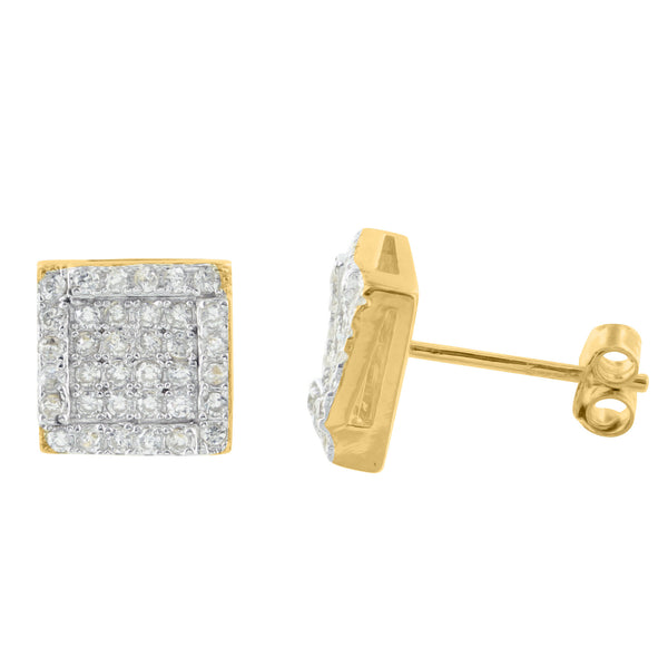Yellow Gold Finish Square Round Brilliant Lab Diamond 925 Silver Earrings