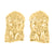 14K Yellow Gold Finish Jesus Earrings