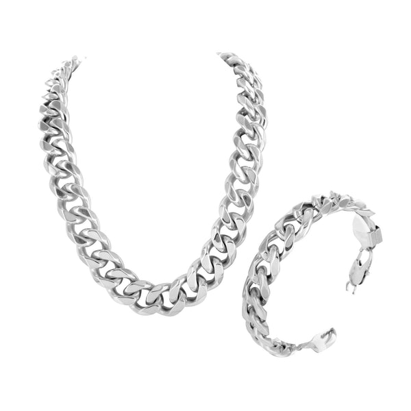 Miami Cuban 14k White Gold Finish Bracelet Chain Stainless Steel 14 MM
