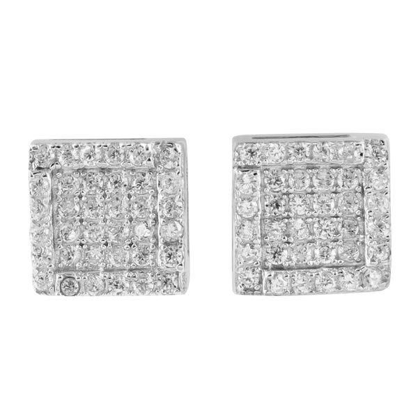 Square Shape Lab Diamond 925 Silver Earrings