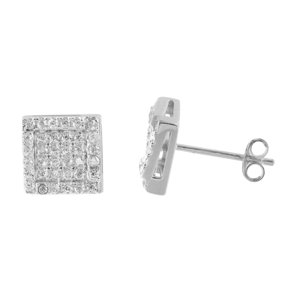 White Gold Finish Square Round Brilliant Lab Diamond 925 Silver Earrings