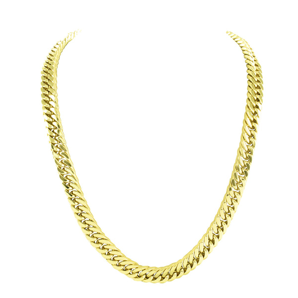 Miami Cuban 14k Gold Finish Chain In Stainless Steel Mens 30 Inch