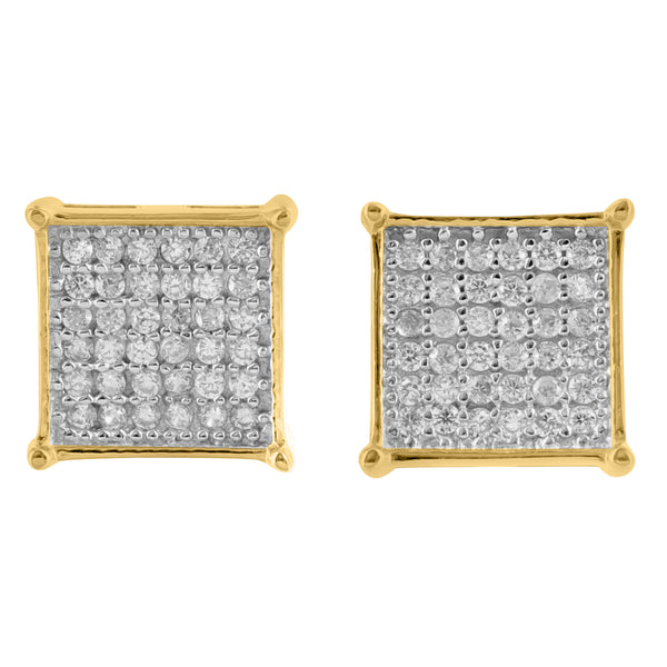 14K Gold Finish Lab Diamond 925 Silver Square Earrings