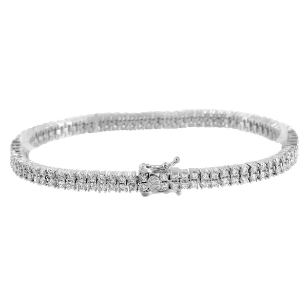 White Gold Tone Ladies Solitaire Tennis Bracelet Round Cut Link  Lab Diamond