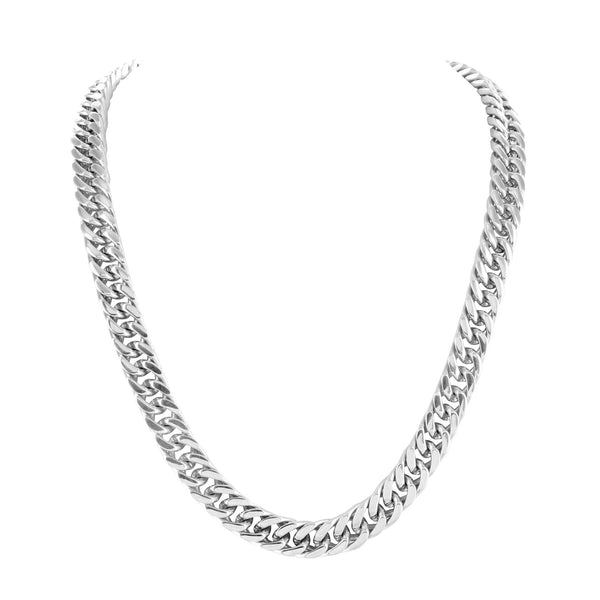Stainless Steel Miami Cuban Chain White Gold Finish 8 MM