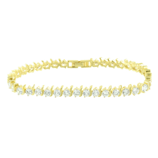 Womens Tennis Design Bracelet Solitaire Round Link Lab Diamond Yellow Gold Finish