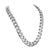 Stainless Steel Cuban Necklace Bracelet White Gold Finish 12 MM