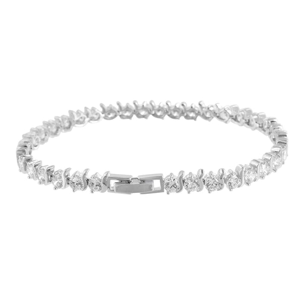 Womens Tennis Design Bracelet Solitaire Round Link Lab Diamond White Gold Finish