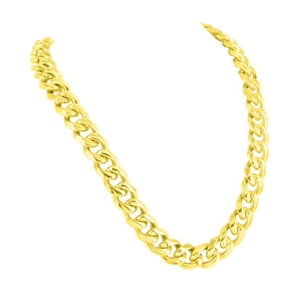 Necklaces Miami Cuban Gold Finish Stainless Steel Free Bracelet 10 MM