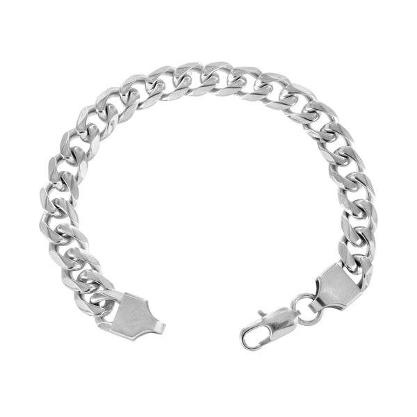 Stainless Steel Miami Cuban Necklace Bracelet Combo White Gold Finish Chain