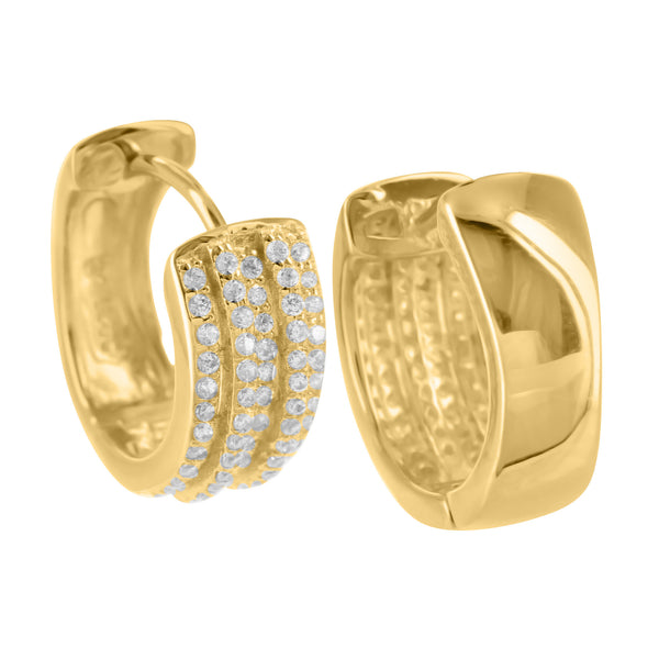 Sterling Silver Hoop Earrings Yellow Gold Finish Lab Diamond