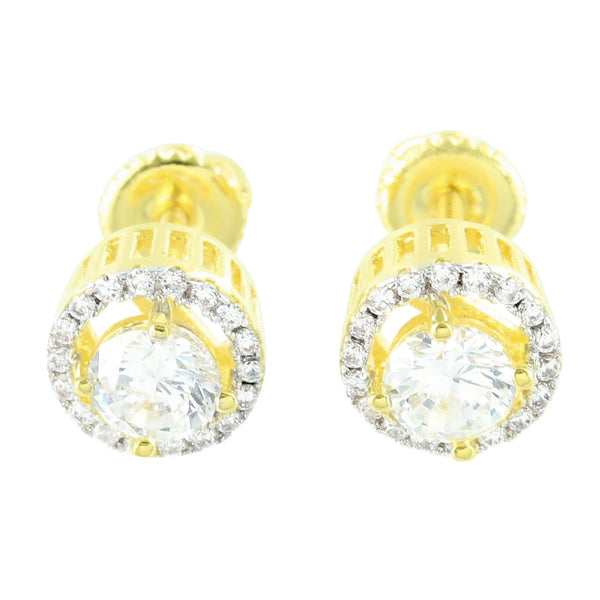 Gold Finish Solitaire Earrings Round Screw Back