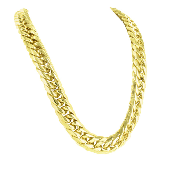 Miami Cuban Necklace Steel Gold Finish Box Lock 30 Inch 12 MM