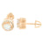 Solitaire Round Design Earrings Rose Gold Finish