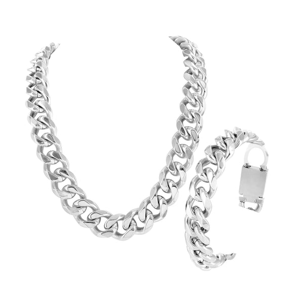 Stainless Steel Miami Cuban Necklaces Box Lock White Gold Finish 14 mm